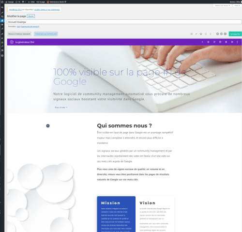 Nous développons du web - back office WordPress DIVI editor